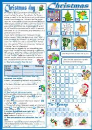Christmas (2 pages)(A reading passage-A puzzle-A letter) (+KEY)