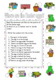 English Worksheet: Where are the Easter eggs?  - 2/2