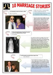 MARRIAGE & STORIES - (5 PAGES) The 10 most extravagant weddings ever‏ -  Complete ws with 10 famous celebrities + texts and  5 exercises + 11 extra activities