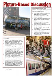 English Worksheet: Picture-Based Discussion (35): City Transport