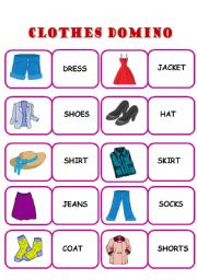 English Worksheets: CLOTHES DOMINO - ELEMENTARY