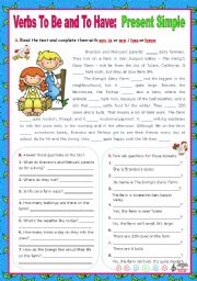 English Worksheet: Verbs to be and to have - Simple Present - Affirmative, negative and Interrogative forms (5)