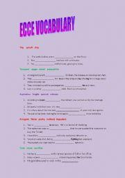 English worksheet: ecce vocabulary practice