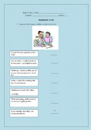 English Worksheet: APPLYING FOR A JOB!