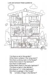 English Worksheet: Rooms And Furniture... There Is / Are Questions