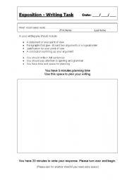 English Worksheets: Exposition Task Proforma