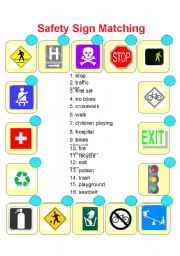 safety sign matching esl worksheet by dawn503. Black Bedroom Furniture Sets. Home Design Ideas