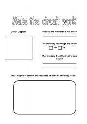 English Worksheets: Make the Circuit Work
