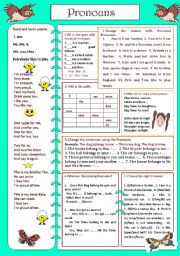 English Worksheet: Pronouns (Personal, Possessive..)