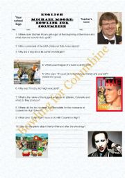 English Worksheets: Michael Moore�s Bowling for Columbine: Comprehension Questions,Part I