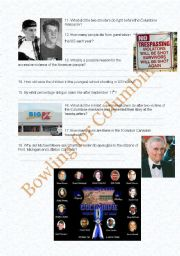 English Worksheet: Michael Moore�s Bowling for Columbine: Comprehension Questions, Part II