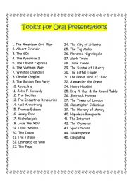 English Worksheet: Topics for Oral Presentations