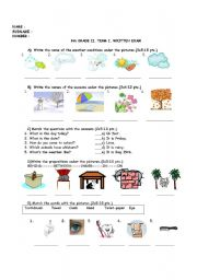 English Worksheet: 6TH GRADE II. TERM I. WRITTEN EXAM
