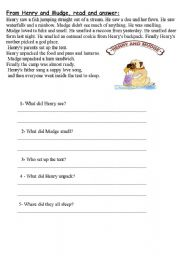 English Worksheets: From Henry and Mudge,