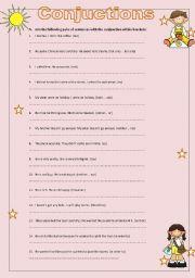 English Worksheet: Conjuctions