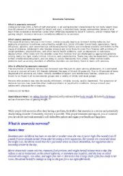 English Worksheet: what is anorexia nervosa?