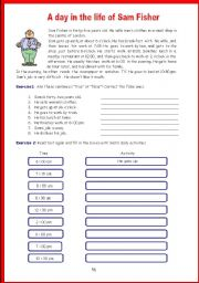 English Worksheets: A day in the life of Sam Fisher
