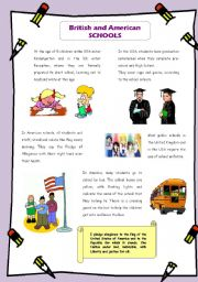 English Worksheets: British and American schools