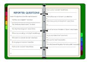 English Worksheet: reported questions