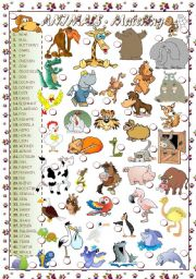 English Worksheet: ANIMALS - MATCHING