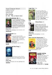 English Worksheet: What is on at the Cinema? Cinema listings - reading and writing