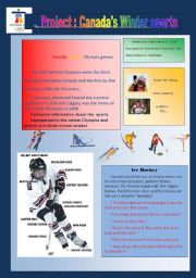 English Worksheet: Project : canada�s winter sports ( web quest /game/ writing/presenting..)