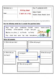 English Worksheets: i went on a trip