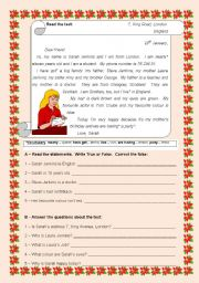 English Worksheets: A  letter from Sarah