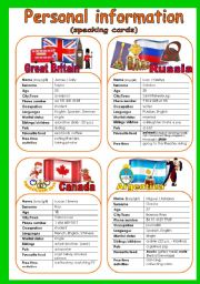 English worksheet: SPEAKING CARDS. PERSONAL INFORMATION 1/3 (8 cards + quiz)
