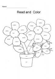 English Worksheet: Flower Coloring