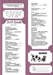 English Worksheets: Don´t  Speak - No Doubt