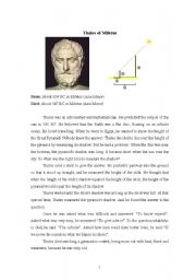 English worksheets: Thales: A Greek mathematician and philosopher
