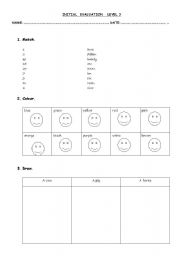 English Worksheets: initial evaluation level 3