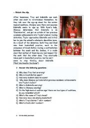English Worksheet: HIGH SCHOOL MUSICAL 1 WORKSHOP (part 2 out of 8) Get�cha head in the game