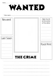 English Worksheet: Wanted Poster Worksheet