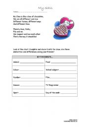 English worksheet: We are all Different!