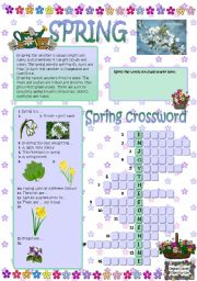 English Worksheet: Spring crossword