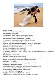 English Worksheet: Wedding - Picture based activitiy