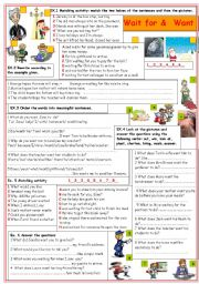 English Worksheets: Wait for & want