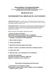 English Worksheets: experimental research