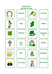 English Worksheet: Saint Patck�s Day - Memory Game