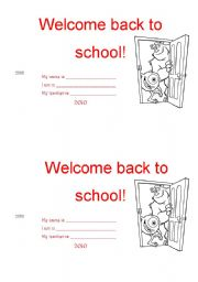 Phenomenal Welcome Back To School Card Esl Worksheet By Sigry Funny Birthday Cards Online Fluifree Goldxyz