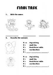 English Worksheets: animals final task