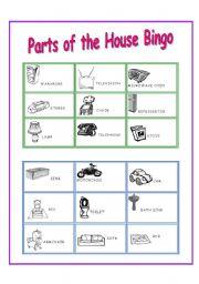 Parts of the House Bingo