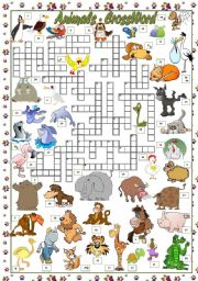 English Worksheet: ANIMALS - CROSSWORD