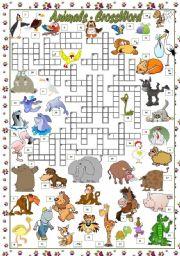 English Worksheets: ANIMALS - CROSSWORD