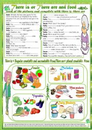 English Worksheet: There is or There are and food(+ Key)