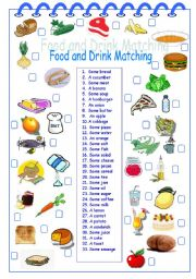 Food and Drink Matching - ESL worksheet by Alyona C