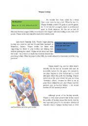 English Worksheets: Wayne Gretzky Reading Comprehension