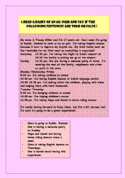 English Worksheet: the diary of an au pair